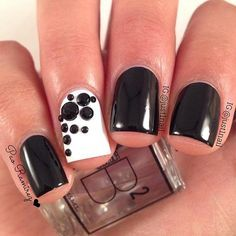 Black and White Accent Nail with Stones