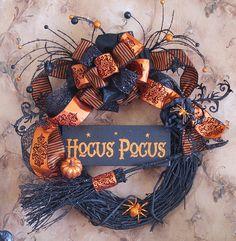 Halloween witch wreath, Hocus Pocus, Halloween wreath, Halloween Decor, Witch wreath, Fall decor, front door wreath, fall wreath, orange by SignsStuffnThings on Etsy https://www.etsy.com/listing/200328610/halloween-witch-wreath-hocus-pocus