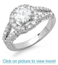 1.50 CT Platinum Plated Ladies Round Cubic Zirconia CZ Engagement Halo Ring (Available in size 6, 7, 8)