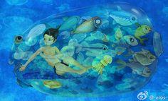 Underwater Fish, Goldfish, Aquarium, Sea, Pictures, Blue, Animals, Illustrations, Pisces