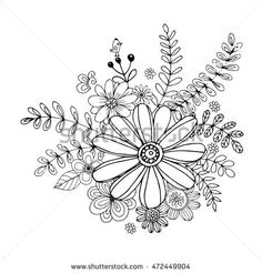 Flower doodle drawing freehand vector, Coloring page with doodle flowers vector, Vector Illustration, Zen tangle floral, tattoo, t-shirt or prints, Vector spring illustration,