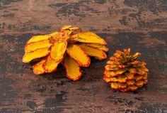 Vintage Hand Painted Folk Art Pine Cones Large Colorful Lot