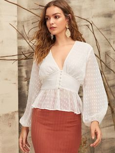 To find out about the Plunging Bishop Sleeve Button Front Peplum Top at SHEIN, part of our latest Blouses ready to shop online today! Blouse Styles, Blouse Designs, White Outfits For Women, Sheer Shirt, Bishop Sleeve, Online Shopping For Women, Denim Outfit, Types Of Sleeves, Blouses For Women