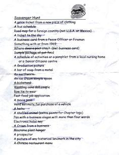 Scavenger hunt List June 24_2007