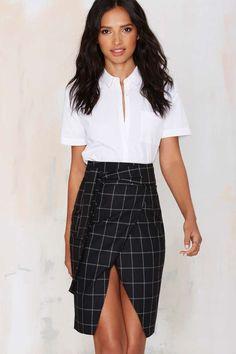 Office Ace Plaid Skirt - Nasty gal #Workwear