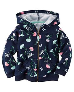 Carters Girl Floral French Terry Hoodie Navy 9M *** Want additional info? Click on the image. (This is an affiliate link) #BabyGirlHoodiesActive
