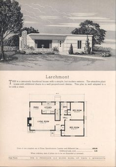Practical homes, ed. Vintage House Plans, Modern House Plans, Small House Plans, Modern House Design, Sims House Plans, House Floor Plans, Vintage Architecture, House Blueprints, Mid Century House