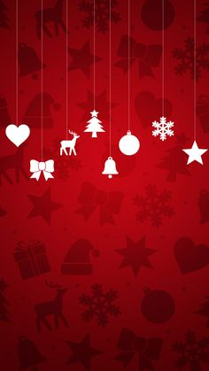Minimal Christmas Ornaments Red Background Android Wallpaper.jpg (1080×1920)