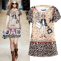 Leopard Short Sleeve Mini Dress