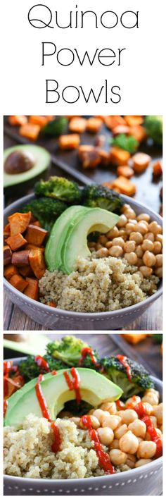 Quinoa Power Bowls - super yummy and very filling! Made a cilantro lime sauce to drizzle over which added a lot of flavour. Wasn't sure how much this would make, so I cooked two sweet potatoes to have extras for leftovers. Clean Eating Recipes, Lunch Recipes, Whole Food Recipes, Vegetarian Recipes, Healthy Recipes, Recipes Dinner, Healthy Cooking, Healthy Eating, Cooking Recipes