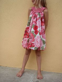 simple crochet yoke sundress style  I want to make this for my daughters. Bobble Dress