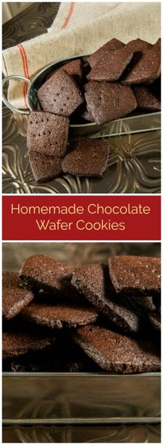 Homemade Chocolate Wafer Cookies bake into thin, crisp, chocolatey treats that continue to taste wonderful all the time. Chocolate Wafer Cookies, Chocolate Wafers, Homemade Chocolate, Chocolate Recipes, Quick Easy Desserts, Delicious Desserts, Dessert Recipes, Best Cookie Recipes, Sweet Recipes