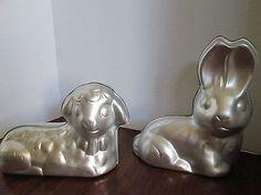 ~Lot of 2 WILTON 3D Lamb/Sheep & Bunny Rabbit Easter Stand-Up Cake Molds CuTe Sheep Cake, Lamb Cake, Easter Lamb, Cake Mold, Cake Pans, Bunny Rabbit, Lion Sculpture, 3d, Cake Shapes