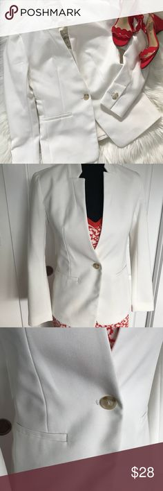 Beautiful NWT LOFT suit jacket - size 2P Brand new jacket - white. Collarless jacket with single button closure. Slit in the back as shown.  Perfect for summer in the office!  Size 2P NWT LOFT Jackets & Coats Blazers