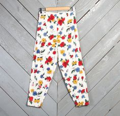 vintage 50s bright pin-up floral pedal pusher cropped pants!