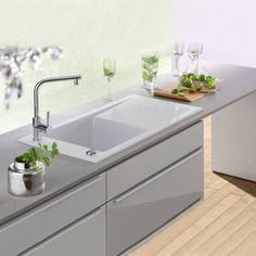 Buy Villeroy & Boch Timeline 60 White Ceramic Single Bowl Sink & Drainer - Reversible from Tap Warehouse Ceramic Kitchen Sinks, Small Kitchen Sink, Modern Kitchen Sinks, Kitchen Taps, New Kitchen, Kitchen Ideas, Belfast Sink, Minimalist Flat, Shower Fittings