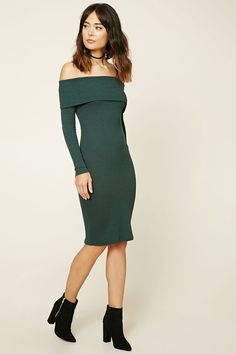 Forever 21 Contemporary - A ribbed knit bodycon dress featuring an off-the-shoulder neckline with a foldover design and long sleeves.