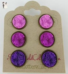 Trio Antiqued Gold-tone Purple Faux Druzy Stone Stud Earrings Set 12mm - Wedding earings (*Amazon Partner-Link)