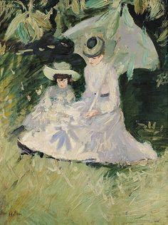 Paul Cesar Helleu - Madame Helleu and Her Daughter
