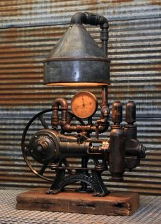 Safari Steampunk Anyone? Steampunk is a rapidly growing subculture of science fiction and fashion. Vintage Industrial Lighting, Industrial Light Fixtures, Antique Lighting, Vintage Industrial Furniture, Industrial Interiors, Industrial Office, Modern Industrial, Industrial Design, Lampe Steampunk