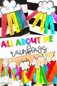 Not only is this a great way to get to know your students, it makes a beautiful decoration to brighten up your classroom all year long. Eleven choices available for the 6 strips so you can pick and choose what you want to use. New Classroom, Kindergarten Classroom, Classroom Themes, Classroom Activities, All About Me Preschool, All About Me Activities, All About Me Crafts, 1st Day Of School, Beginning Of The School Year