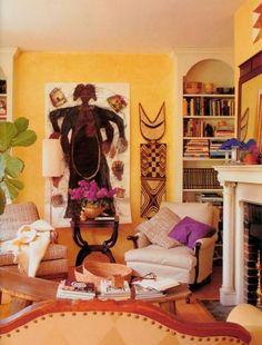 Afrika Stil-Wanddesign -Dekorationen und Möbel-kräftige Wandfarben