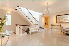 Aubrey House Staircase Timber Handrail, Stair Spindles, Banisters, House Staircase, Stairs, Newel Posts, Glass Panels, Home Decor, Natural
