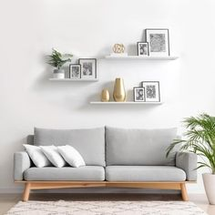 Jan 2020 - 8 x 36 x 2 pk White Slim Floating Shelves, Delta(Reclaimed Wood) Floating Shelf Decor, White Floating Shelves, Floating Shelves Bedroom, White Shelves, Wood Shelves, Bedroom Wall Shelves, Mounted Shelves, Home Living Room, Apartment Living