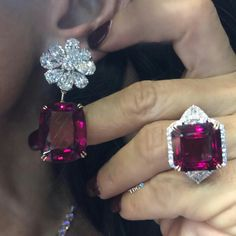 """COULD ANYTHING BE YUMMIER??? From @karensuenfinejewellery """"Dream Red"""" collection, spinel and diamond earrings and ring thats simply too delicious! And yes... there is a necklace as well! You've outdone yourself tho time @karensuenfinejewellery #thediamondsgirl️"""