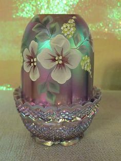 Fenton Art Glass Fairy Lamp Purple Gorgeous