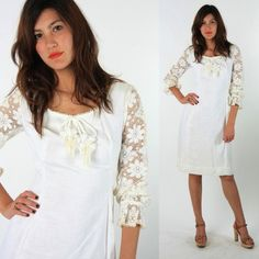 60s white crochet lace Wedding mini dress by digvintageclothing