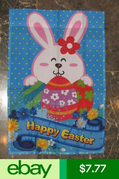 12x18 Happy Easter Bunny Rabbit Eggs Banner Sleeved Garden Flag
