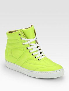 Maison Martin Margiela MM6 - Neon Leather High Top Sneakers - Saks.com
