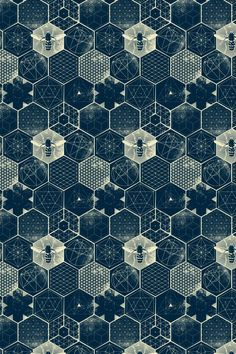 The Honeycomb Conjecture custom fabric by strange_phenomena for sale on Spoonflower Honeycomb Pattern, Hexagon Pattern, Pattern Art, Pattern Design, Honeycomb Wallpaper, Pattern Wallpaper, Fabric Wallpaper, Geometric Nature, Geometric Patterns