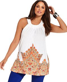 INC International Concepts Plus Size Top, Sleeveless Printed Embellished - Plus Size Tops - Plus Sizes - Macy's