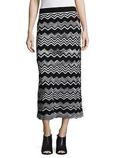 Zigzag Knit Midi Skirt, Women's, Size: Medium, Black
