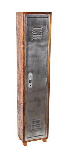 solidly built vintage american industrial repurposed single unit cedar wood freestanding locker with brushed metal louvered and hinged door