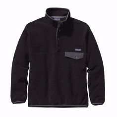 Patagonia Men's Large Synchilla Snap-T Fleece Pullover Black $119 FTC #4138