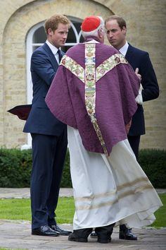 (L-R) Prince Harry and Prince William, Duke of Cambridge attend a requiem mass for Hugh van Cutsem who passed away on September 2nd 2013 at Brentwood Cathedral on September 11, 2013 in Brentwood, England.