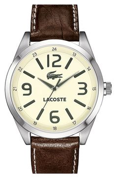 Lacoste 'Montreal' Leather Strap Watch | Nordstrom