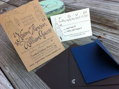 Oh So Beautiful Paper: Noemi + BJ's Hand Lettered Kraft Paper Wedding Invitations