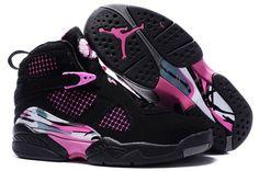 Womens Air Jordan 8 Black Pink Shoes