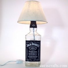 How To Make A Liquor Bottle Lamp | Shelterness- for the man cave!