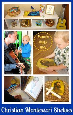 Christian Montessori Shelves - Mama's Happy Hive Montessori Trays, Montessori Toddler, Montessori Activities, Toddler Preschool, Montessori Education, School Age Activities, Hands On Activities, Infant Activities, Tot School