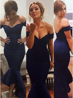 Mermaid Off-the-Shoulder Long Navy Blue Bridesmaid Prom Evening Formal Dresses 99602174