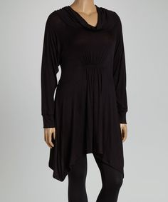 Another great find on #zulily! Black Drape-Neck Tunic - Plus by  #zulilyfinds