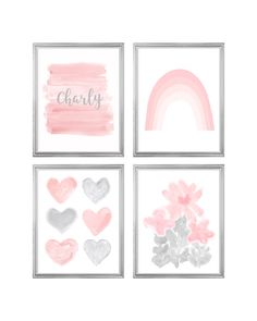 Rainbow Gallery Wall in Blush and Gray for Girls Room, Set of Prints with optional Dog or Cat Aqua Nursery, Blush Nursery, Nursery Decor, Blush And Grey, Linen Pillows, Room Set, All Print, Gallery Wall, Rainbow