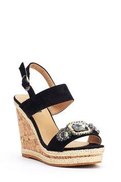 58c8487c33d Womens Black Diamante Platform High Wedge Heel Summer Shoes Sandals Size  New  sandals  shoes