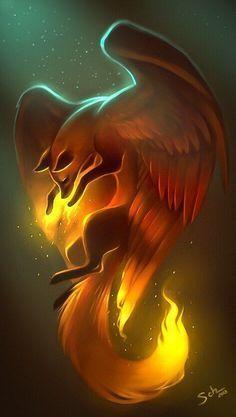 Looks like a phoenix fox – Art Center Pet Anime, Anime Animals, Anime Art, Cute Fantasy Creatures, Mythical Creatures Art, Cute Animal Drawings, Cute Drawings, Horse Drawings, Mystical Animals