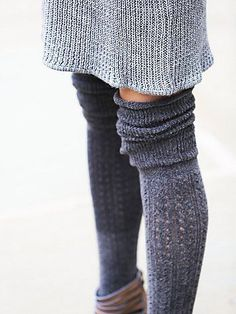 Blanket Pointelle Sock | Textured knit tall socks with subtle frill trim.  *By Free People